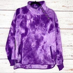 Green Tea purple tie dye snap neck fleece